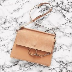 chic Chlo¨¦ Faye leather and suede crossbody bag | warm beige color ...