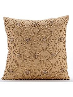 "Handmade Gold Decorative Pillows Cover, Beaded Lotus Pattern Pillows Cover, 16""x16"" Throw Pillow Covers, Square Taffeta Pillows Cover, Floral Modern Decorative Throw Pillow Covers - Gold Jardin ❤ The HomeCentric"