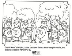 Kids coloring page from What's in the Bible? showing Judas betraying Jesus from Mark 14:43-50. Volume 10: Jesus is the Good News!