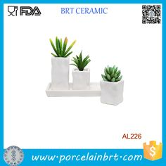 Set of 3 Modern White Stone Design Ceramic Succulent Planter Flower Pots & Plant Saucer Tray, View Planter Flower , BRT Ceramic Product Details from Xiamen Yoyo Ceramic Trading Co., Ltd. on Alibaba.com