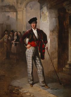 Majo, 1846 by Manuel Rodríguez de Guzmán (Spanish checked trousers are interesting.the hat this Andalusian dandy is wearing is called a Calanes. Romantic Paintings, Checked Trousers, Spanish Artists, The World's Greatest, Traditional Outfits, Great Artists, Art Prints, Portrait, Artwork