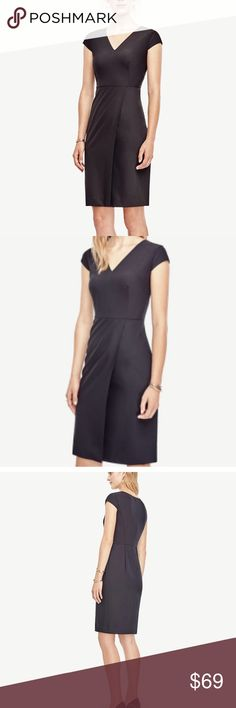 "*NWT* Ann Taylor Black Petite Wool Sheath Dress Ann Taylor Women's Black Petite Tropical Wool V-neck Sheath Dress Cap sleeves. Wrap style skirt. Hidden back zipper with hook-and-eye closure. Lined. 21 1/2"" from natural waist. Ann Taylor Dresses Midi"