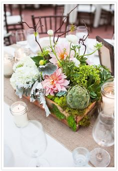 succulent and soft pink dahlia centerpieces