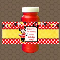 Minnie Mouse Red Yellow Birthday Bubble Labels by Minnie Mouse Birthday Invitations, Minnie Birthday, Baby First Birthday, 1st Birthday Parties, Bubble Bottle, Yellow Birthday, Printable Stickers, Bottle Labels, Baddie