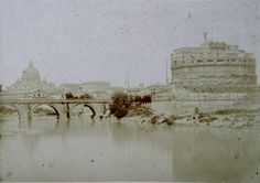 Rome, St. Angelo and the River Tiber 1852 (ca) Salt print from albumen glass