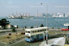 Skyline, Cityscape, Buildings, Harbor, Docks, Street, Taxi Cab, Doubledecker Bus, 1985, 1980's, Road