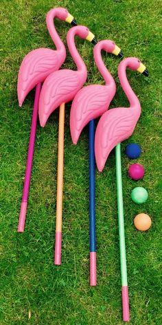 Alice In Wonderland Flamingo Croquet set HIRE Chelmsford Essex Wedding Party