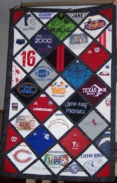 tshirt quilt idea - never seen one on the diagonal like this.