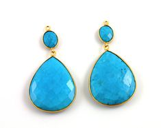 Genuine Turquoise Earrings Bezel Gemstone Component by Beadspoint, $34.95