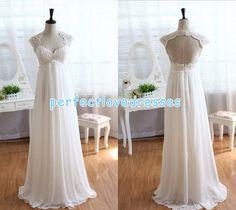 Lace Chiffon Wedding Dress Empire Waist Bridal Gowns Back Hollow Floor Length Cap Sleeve Wedding Dresses custom plus size sexy