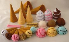 Ice-creams with toppings and cones.