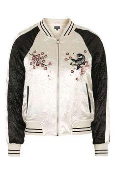 PETITE Embroidered Bomber Jacket