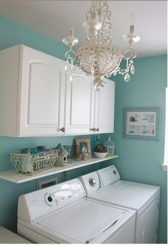 Having a chandelier in the laundry room might make doing it a little more bearable.
