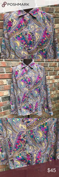 Multi Color Paisley Button Down Blouse Lightly Used | Excellent Condition | Multi Color | Paisley Print | Long Sleeve | Button Down | Collar | 2 Extra Attached Buttons Inside | 1 Button Cuff Wrist | Length: 14ins | Bust: 46ins | Sleeve Length: 24ins | 100% Polyester | Oscar de la Renta Expressions Tops Button Down Shirts