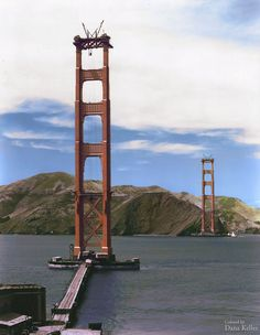 Colorized image of the Golden Gate Bridge under construction (ca. 1934)