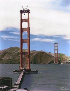 Colorized image of the Golden Gate Bridge under construction (ca. 1934)