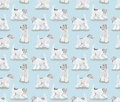 Playful Wire Fox Terrier - blue fabric by rusticcorgi on Spoonflower - custom fabric