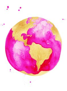 watercolorsforlandlubbers: Pink and Gold Globe Print of Original Watercolor Illustration Colorfull Wallpaper, Videos Kawaii, Sketch Style, Pink Und Gold, Gold Globe, Chef D Oeuvre, Mellow Yellow, Watercolor Illustration, Watercolour