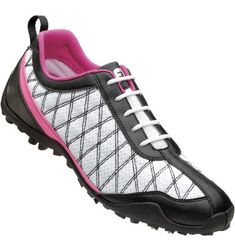 FootJoy Women's FJ Summer Series Spikeless Golf Shoe - White/Black/Pink at Golf Galaxy My new golf shoes! Best Golf Shoes, Spikeless Golf Shoes, Golf Cleats, Footjoy Golf, Womens Golf Shirts, Sneaker Store, Evening Shoes, Black White Pink, Golf Outfit
