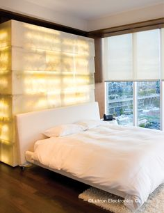 Lutron remote controlled shades give you peace and quiet at the touch of a… Bedroom Decor Lights, Bedroom Lighting, Window Coverings, Window Treatments, Modern Home Furniture, House Furniture, Motorized Shades, Room Themes, Mellow Yellow