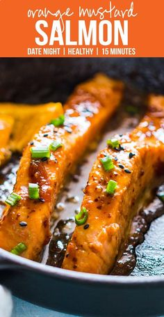 Pan seared orange mustard #salmon - easy, healthy, 15 minute dinner #recipe with a sticky marinade. Clean eating ingredients, serve with pasta, cauliflower rice or asparagus. My Food Story blog