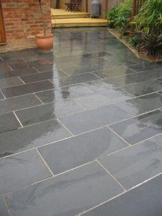 Details about Black Brazilian Slate Paving Patio Garden Slabs Tiles Garden Slabs, Patio Slabs, Patio Tiles, Garden Paving, Concrete Patio, Balcony Tiles, Outdoor Tiles Patio, Porch Tile, Slate Garden