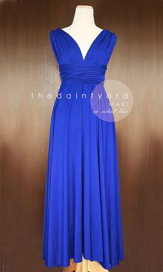 MAXI Cobalt Blue Bridesmaid Dress Convertible by thedaintyard