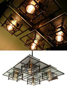 Eren Berg Studios Introduces It's New Frank Lloyd Wright inspired Chandelier. Dj Lighting, Unique Lighting, Decorative Lighting, Frank Lloyd Wright, Shabby Cottage, Light Decorations, Lamp Light, Ceiling Lights, Antiques
