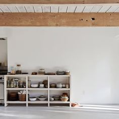 More open shelving with a side of great styling anyone? In love love love with this interior by Scott and Scott- images via dezeen -light wooden surfaces white washed walls and one incredibly sexy marble sink! #interiordesign #finishes #kitchen #marble#sink #thickbenchtop #lighttimbers #interiors #shelving #styling by design_notes