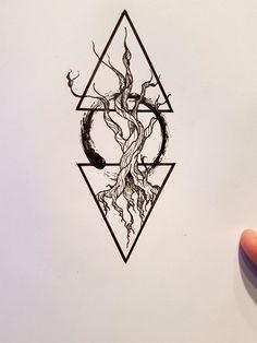 Symbolic tree tattoo design.