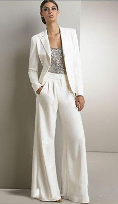 Bling Ivory White Pants Suits Mother Of The Bride Dresses Formal Chiffon Tuxedos
