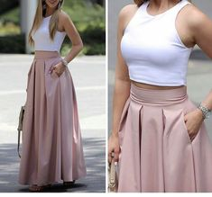 Plated high waisted skirts Love the style of this skirt. (NOT the top :-)) Fashion dresses, clothings, looks★ different top for the office Dream must haves Prom Dresses Two Piece, Elegant Prom Dresses, Evening Dresses, Casual Dresses, Classy Outfits, Chic Outfits, Skirt Outfits, Dress Skirt, Fashion Pants