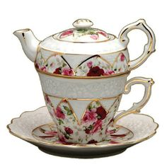 Gracie China by Coastline Imports 4-Piece Porcelain Tea for One, Stacked Teapot Cup Saucer, Red Rose Gracie China by Coastline Imports :)