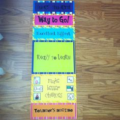 My new behavior chart with CHAMPs icons to give the student a visual of what they need to work on. Kindergarten Classroom Management, 2nd Grade Classroom, School Classroom, Classroom Organization, Classroom Ideas, Champs Behavior, Behavior Rewards, Co Teaching, Teaching Ideas