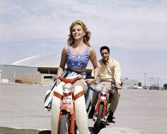 Ann Margret and Elvis  on 2 vintage 60's Hondas  C100 & C110