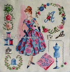 "Embroidery ... The holiday, which is always with me...: Чехол на швейную машинку ""Je classe. Robe de bal"" / V.Enginger «Mode d'hier et d'aujourd'hui au point de croix»"