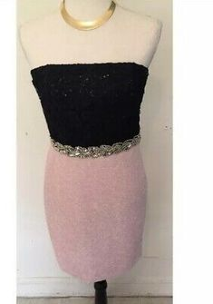 Juniors Chic Party Dress Black And Pink Sparkly Size 11 Smart Party Dresses, Brown Party Dresses, Black Prom Dresses, Black Bodycon Dress, Dress Black, Strapless Dress Formal, Junior Cocktail Dresses, Junior Homecoming Dresses, Junior Party Dresses