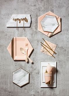 Harlow & Grey - Inspired by today's modern woman, the Goddess Collection is designed with strong lines, soft hues, and polished details. Blush, gold, marble partyware.