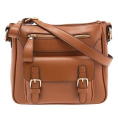 Brown Vintage Buckle Cross Over Bag ($38) ❤ liked on Polyvore