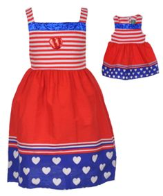 "Dollie & Me Little Girls' ""Red, White & Cute"" Dress with Doll Dress (Sizes 4 – 6X) - CookiesKids.com"