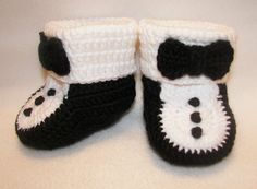 Baby Booties Tuxedo 6 to 12  Months Finely by pitterpatterbabygift, $24.99