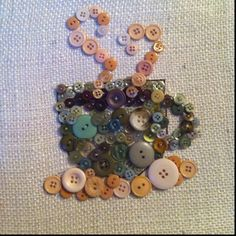Housewarming gift made for my friend Bauer Bauer :) Coffee cup made out of buttons that were hand sewn on a canvas covered in burlap. Classroom Art Projects, Craft Projects, Button Art Projects, Diy Buttons, Vintage Buttons, Button Art On Canvas, Buttons On Canvas, Recycled Crafts, Diy Crafts