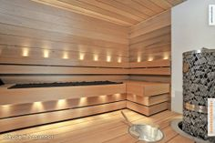 Myynnissä - Rivitalo, Haukilahti, Espoo: 5-6h, k, khh, s, atriumpiha, atr.til - Haukitie 8, 02170 Espoo - Huoneistokeskus Espoo Tapiola | Oi... Sauna Lights, Modern Saunas, Sauna Shower, Sauna Design, Finnish Sauna, Interior Decorating, Interior Design, Log Homes, My Dream Home