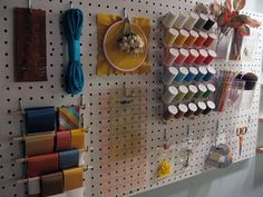 Store Crafting Supplies on a on Pegboard - Top 58 Most Creative Home-Organizing Ideas and DIY Projects Craft Room Storage, Craft Organization, Pegboard Storage, Thread Storage, Ribbon Storage, Craft Rooms, Storage Ideas, Kitchen Pegboard, Pegboard Display