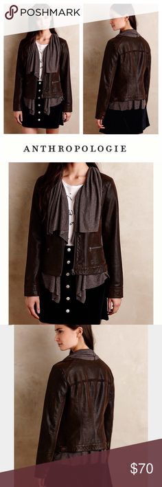 ANTHROPOLOGIE vegan leather jacket Unique weathered, deep brown vegan leather jacket with attached soft knit fabric. This stylish piece is made to look like a layered waterfall cardigan and leather jacket combo. It is true to size and is very comfortable. Extra details are thin deep brown crochet insets on upper front and back. (I will post photos soon). Anthropologie Jackets & Coats