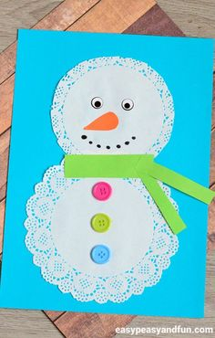 Easy Winter Kids Crafts That Anyone Can Make - Easy Crafts Preschool Christmas Crafts, Snowman Crafts, Kids Christmas, Holiday Crafts, Fun Crafts, Party Crafts, Snowman Craft Preschool, Snowman Cards For Kids, Preschool Winter