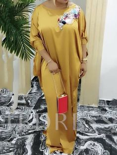 Vintage Plus Size African Satin Maxi Dress Bat Sleeve Casual Retro Elegant Women Evening Party Oversized Long Dress Robe Vestido-in Dresses from Women's African Maxi Dresses, Latest African Fashion Dresses, African Print Fashion, African Dresses For Women, Look Fashion, Fashion Outfits, Womens Fashion, Dress Fashion, African Wear