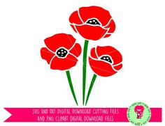 Poppy Flowers SVG / DXF Cutting Files For Cricut Explore / Silhouette Cameo & PNG Clipart, Digital Download, Commercial Use Ok. by DigitalGems on Etsy