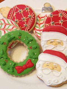 Christmas Cookies - Santa, Wreaths & Baubles