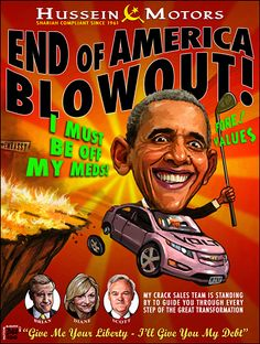 OBAMA CARTOONS: Conservative Political Humor: HUSSEIN MOTORS: End of America Blowout!